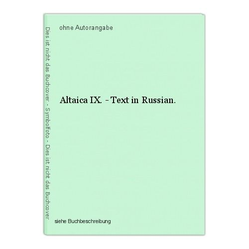 Altaica IX. - Text in Russian.