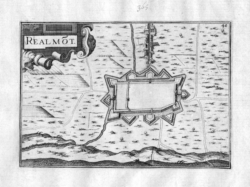 Ca. 1630 Realmont Tarn Frankreich Kupferstich Karte map engraving gravure Tassin