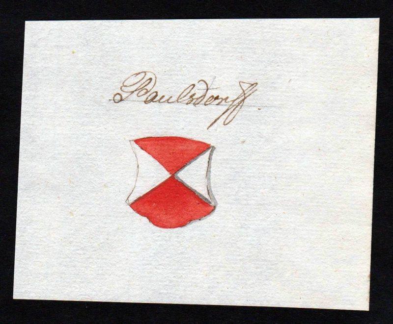 18. Jh. Paulsdorf Adel Wappen Handschrift Manuskript manuscript coat of arms