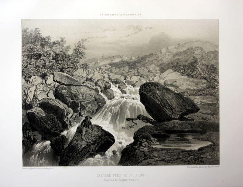 Ca. 1870 Saint-Herbot cascade Bretagne France estampe Lithographie lithograph