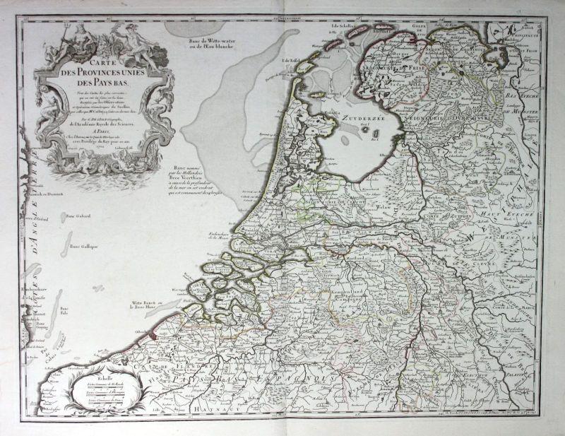 1702 Niederlande Holland Pays Bas Netherlands map Karte de l'Isle carte gravure