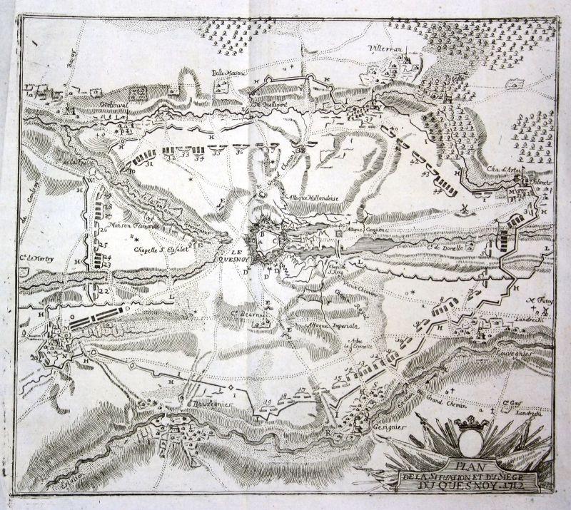 1715 Le Quesnoy siege carte gravure plan map Kupferstich antique print Merian