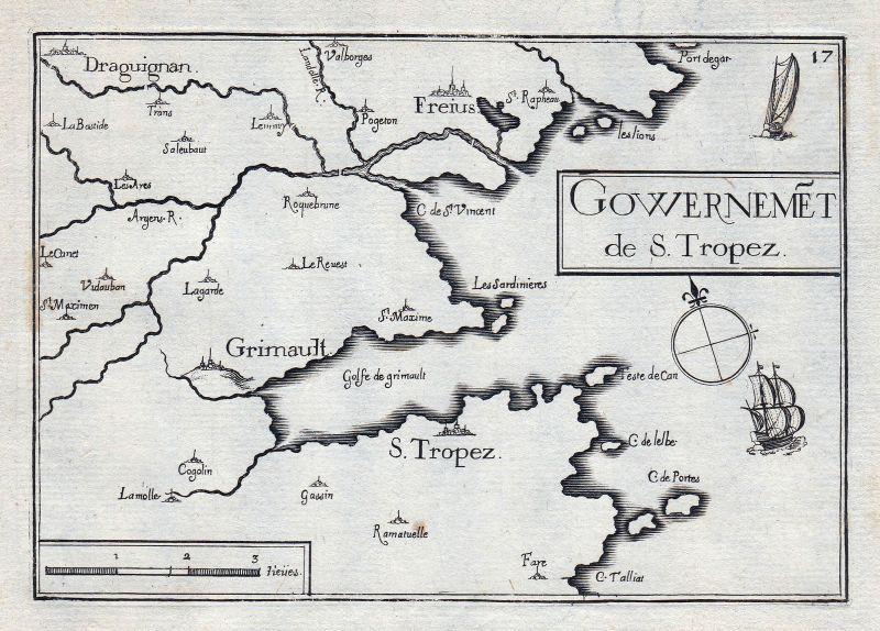 1630 Tropez Provence-Alpes-Côte d'Azur Var France gravure estampe Tassin