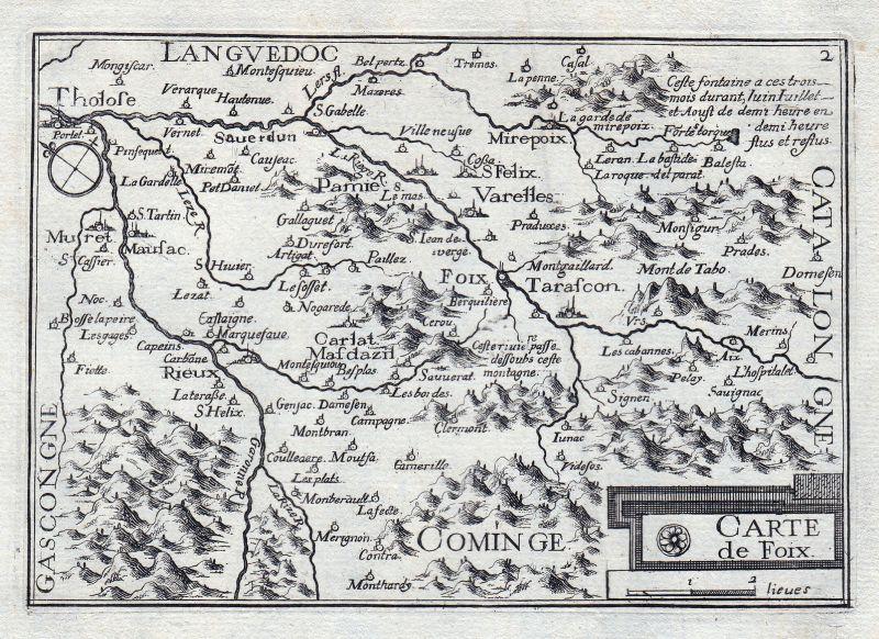 1630 Foix Tarascon Varelles Rieux France gravure estampe Kupferstich Tassin