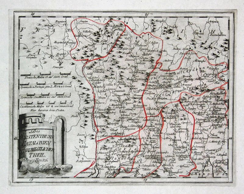 Spanien Spain Portugal Katalonien Viella Sort map Reilly engraving Kupferstich