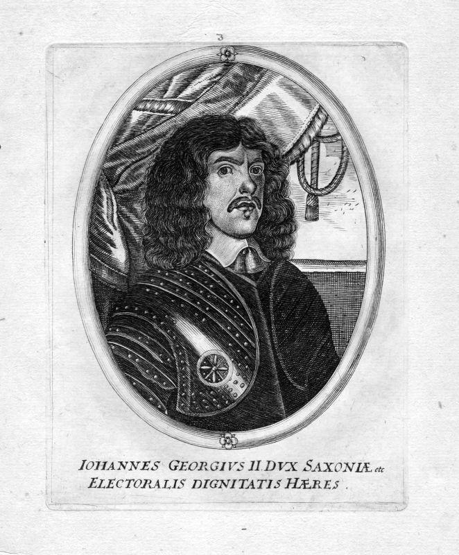 Ca. 1650 Johann Georg II. Sachsen Kurfürst Portrait Kupferstich antique print