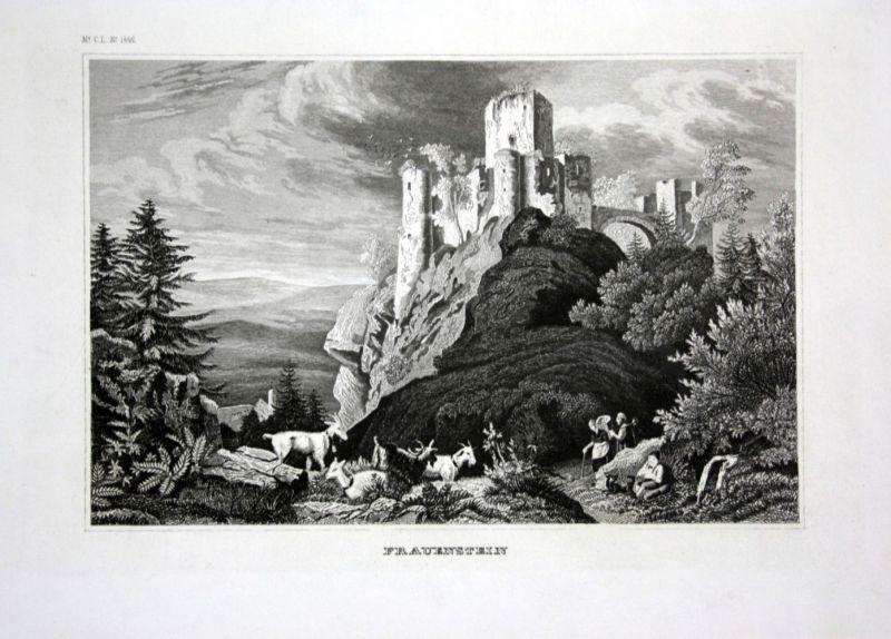 Ca. 1840 Frauenstein Burg Ruine Erzgebirge Ansicht view Stahlstich engraving