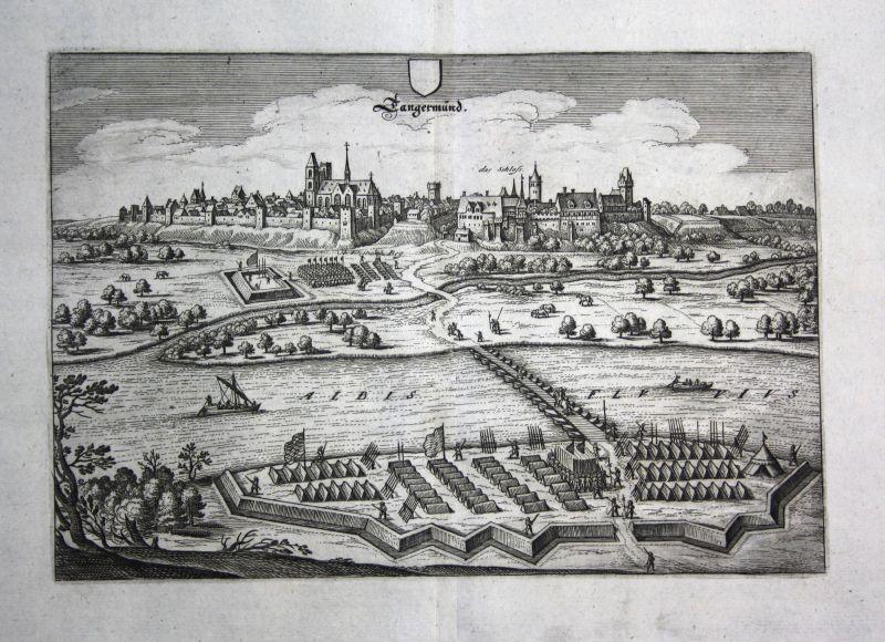 1679 Tangermünde Elbe Lager plan Ansicht view Kupferstich antique print Merian