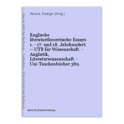 Englische literaturtheoretische Essays 1. - 17. und 18. Jahrhundert. -- UTB für