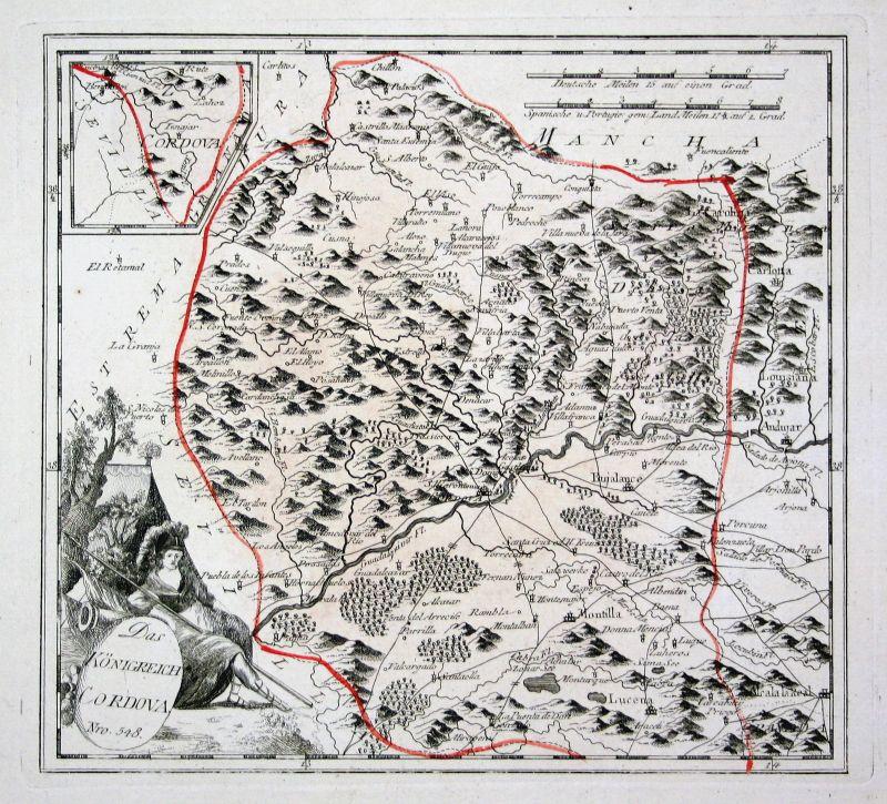 Spanien Spain Portugal Córdoba Montilla Andújar map Reilly engraving Kupferstich