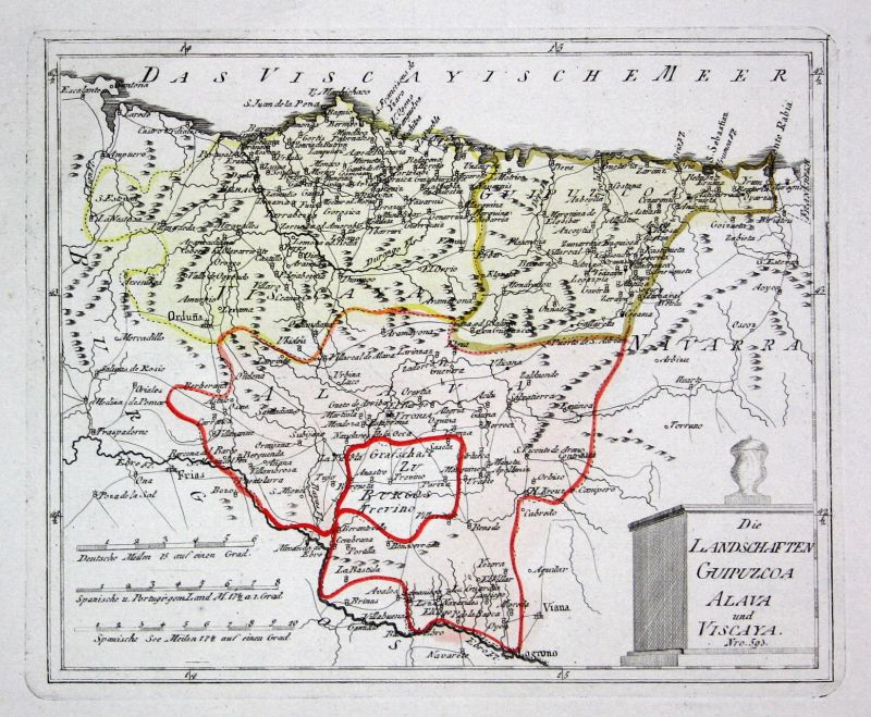 Spanien Spain Portugal Álava Vizcaya Bizkaia map Reilly engraving Kupferstich