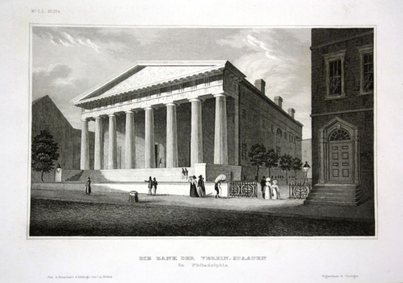 Ca. 1840 Bank bank Philadelphia America Amerika Stahlstich engraving