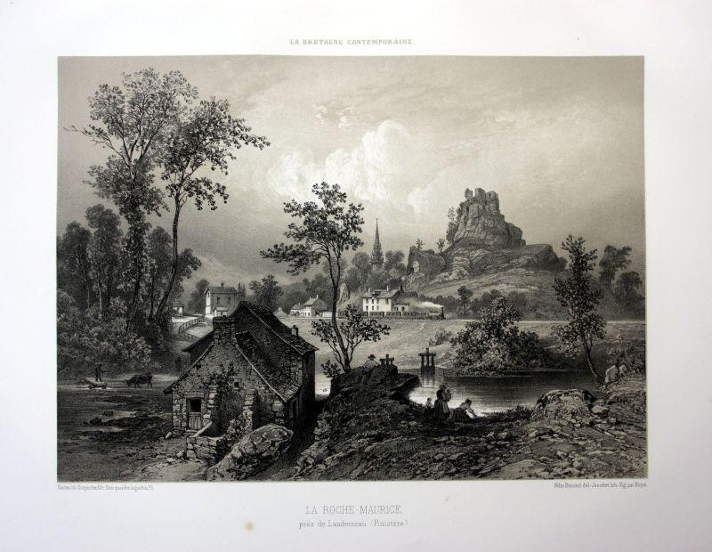 Ca. 1870 La Roche-Maurice Brest Bretagne France estampe Lithographie lithograph