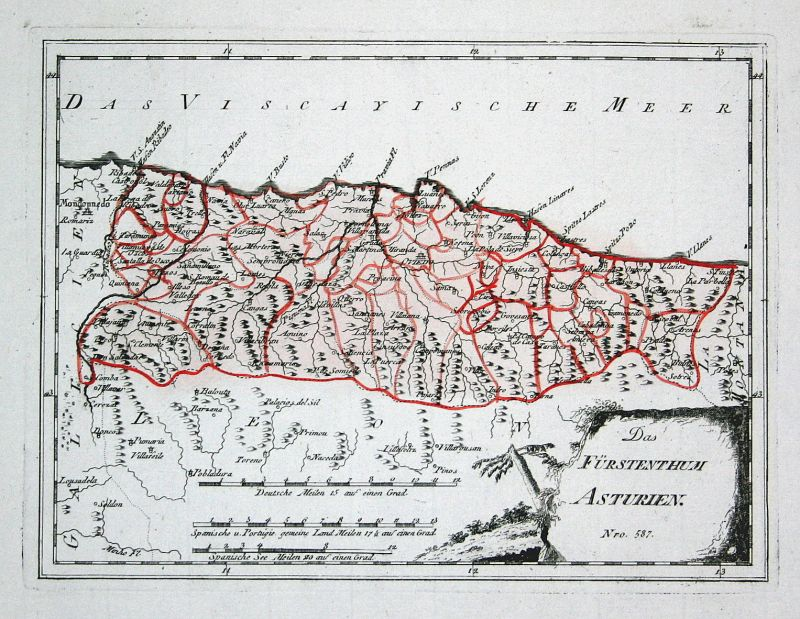 Spanien Spain Portugal Asturien Asturias Oviedo map Reilly engraving Kupferstich