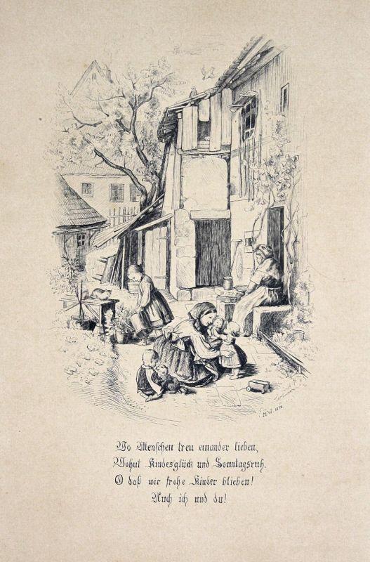 1874 Kinder Mutter Frau Zeichnung Biedermeier Gedicht Ludwig Richter