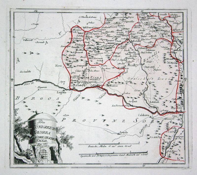 Spanien Spain Portugal Navarra Navarra Estella map Reilly engraving Kupferstich