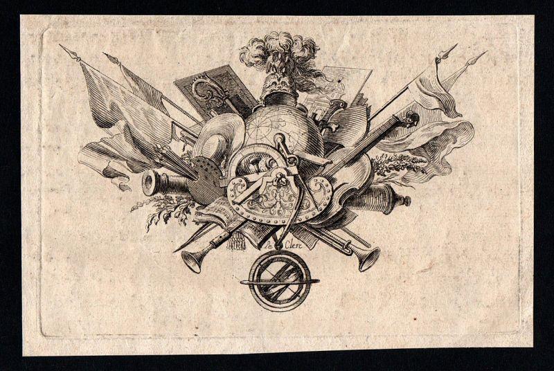Ornament Waffen Flaggen Weltkugel Malerei Kupferstich gravure antique print 1700