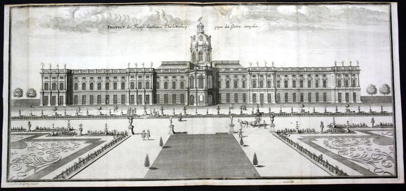 Ca. 1705 Schloss Charlottenburg Berlin Garten Kupferstich antique print Merian