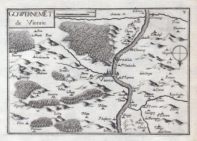 Vienne Auvergne-Rhone-Alpes Dauphine France gravure estampe Kupferstich T 146321