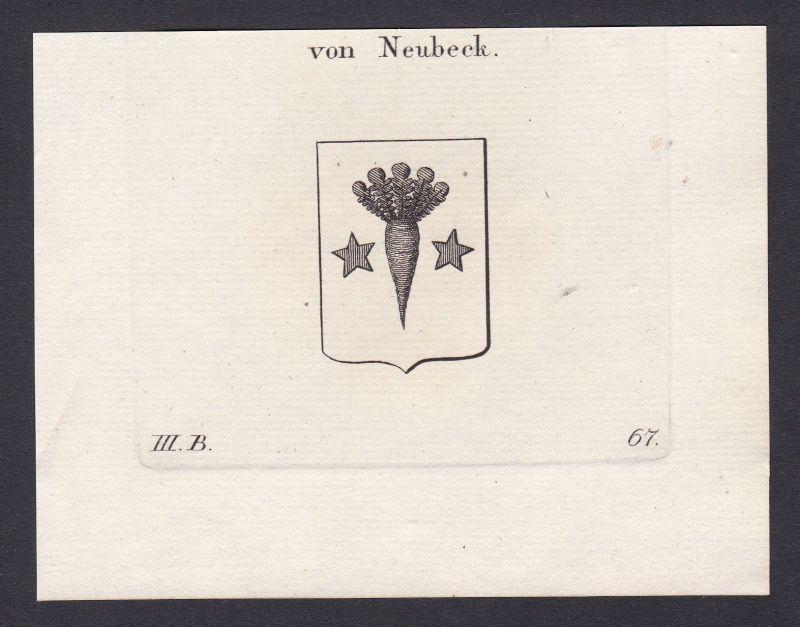 1820 Neubeck Wappen Adel coat of arms Heraldik Kupferstich antique print