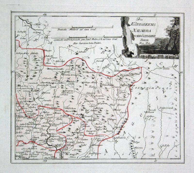 Spanien Spain Portugal Navarra Navarra Sangüesa map Reilly engraving Kupferstich