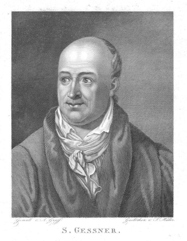 1820 Salomon Gessner Dichter Maler Grafiker Schweiz Zürich Portrait Graff Müller