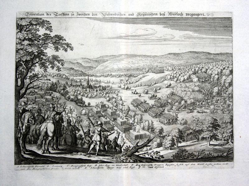 1679 Wiesloch Schlacht Schweden Ansicht view Kupferstich antique print Merian 0