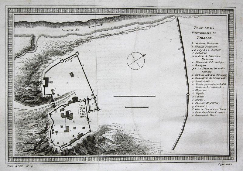 Tobolsk Irtysch Russia Russland Asia Asien map Karte fort Kupferstich Bellin 0