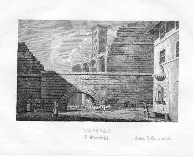 1840 - Rom Rome Roma Carinae Esquilin Italy Italien Italia incisione Stahlstich 0