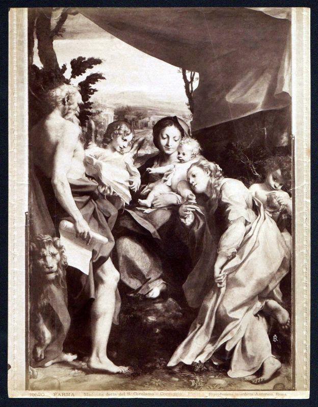Ca. 1880 Madonna detta del S Girolamo Correggio Parma albumen Foto photo vintage 0