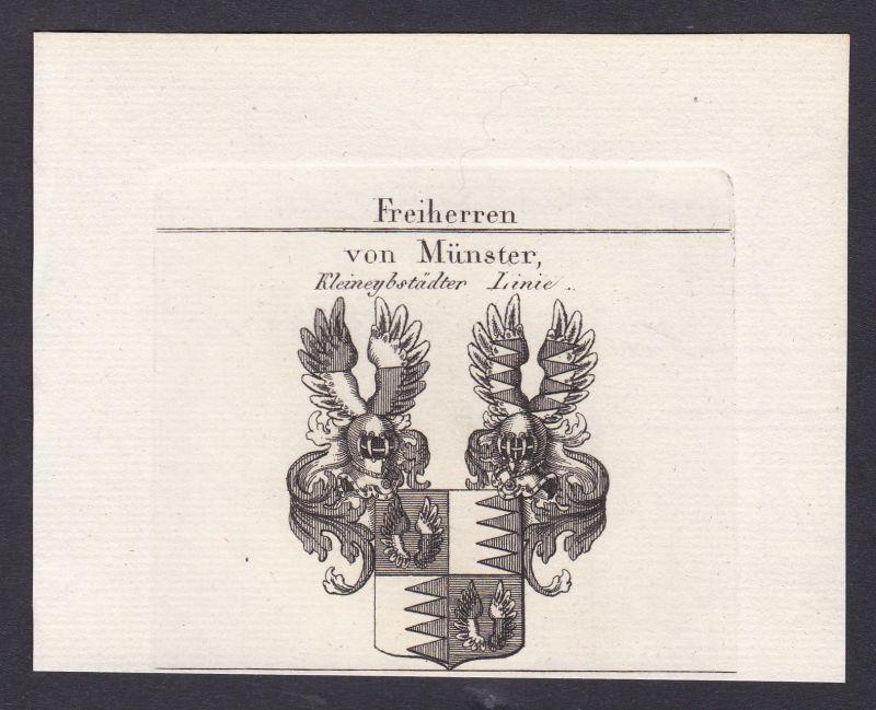 1820 Münster Franken Wappen Adel coat of arms heraldry Heraldik Kupferstich
