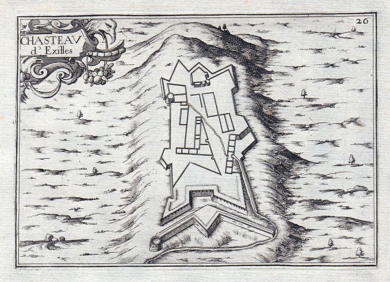 1630 Italia Piemonte Exilles gravure estampe Kupferstich Tassin