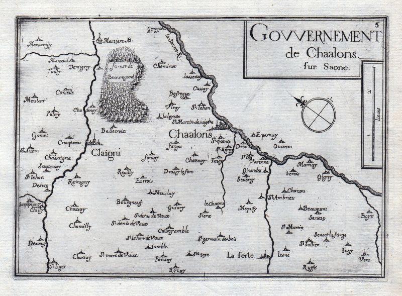 1630 Chalon-sur-Saone Bourgogne France gravure estampe Kupferstich Tassin