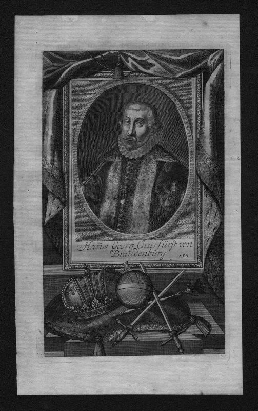 1720 - Johann Georg Kurfürst von Brandenburg engraving Kupferstich Portrait 0