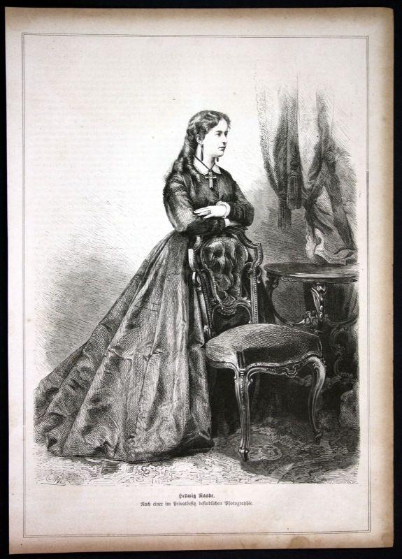 Ca. 1880 Hedwig Raabe Schauspielerin actress Portrait Holzstich antique print 0
