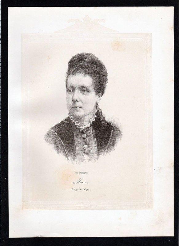1875 - Marie Henriette von Österreich Habsburg Königin der Belgier Lithographie 0