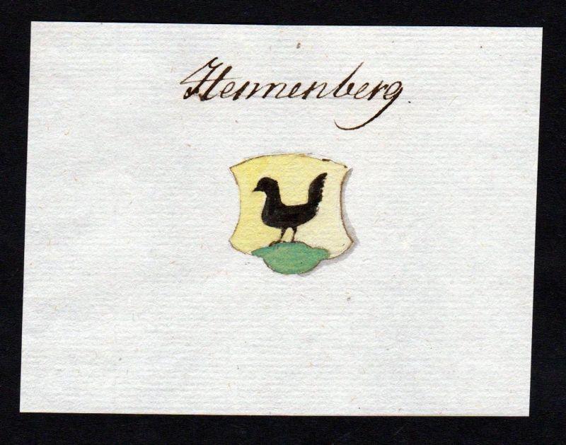 18. Jh. Henneberg Hennenberg Manuskript Wappen manuscript coat of arms 0