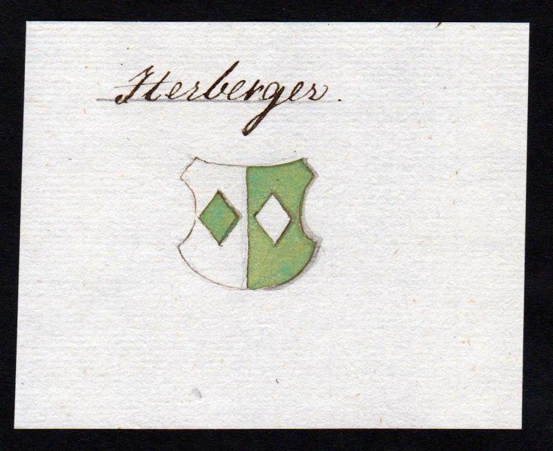 18. Jh. Herberger Handschrift Manuskript Wappen manuscript coat of arms 0