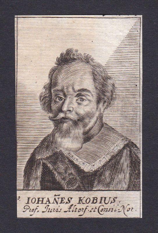 17. Jh. Johannes Kobius / lawyer Jurist Professor Altdorf Portrait Kupferstich