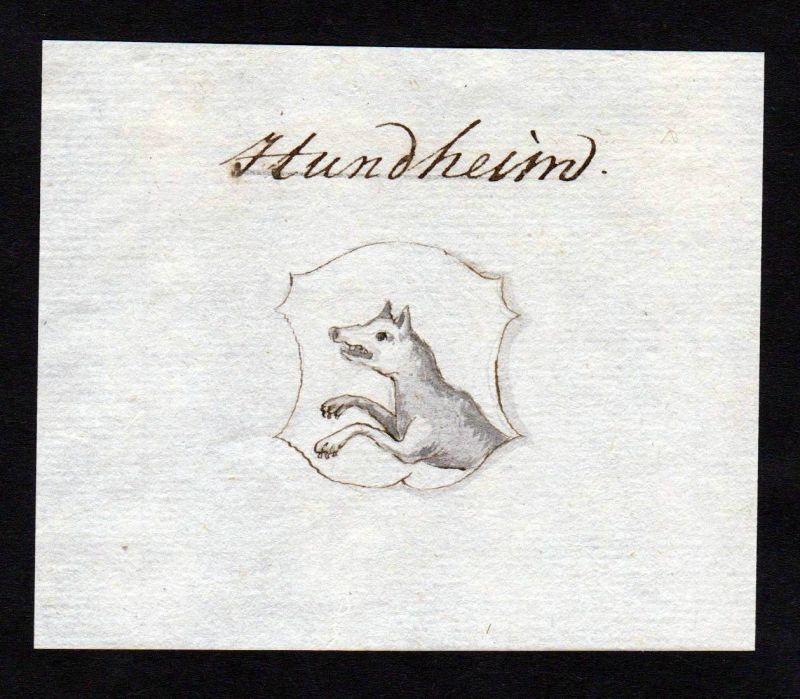18. Jh. Hundheim Handschrift Manuskript Wappen manuscript coat of arms 0