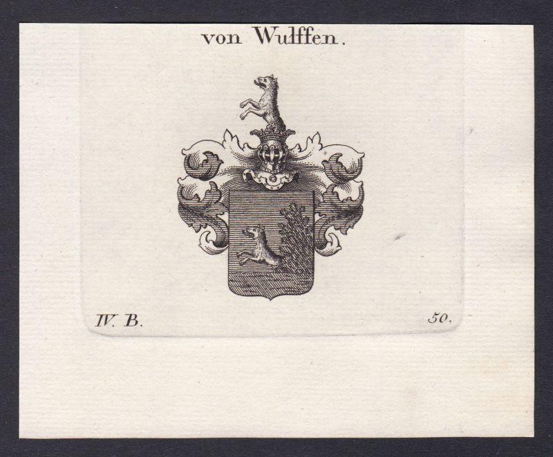 1820 Wulffen Deutschland Wappen Adel coat of arms Kupferstich antique print 0