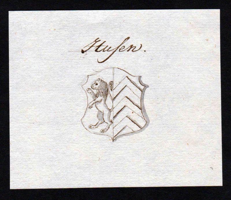 18. Jh. Husen Handschrift Manuskript Wappen manuscript coat of arms 0