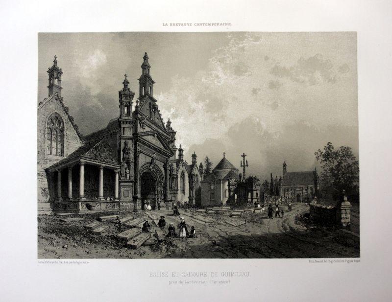 1870 Guimiliau eglise calvaire Bretagne France estampe Lithographie lithograph 0