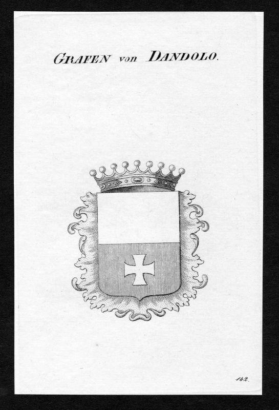 Ca. 1820 Dandolo Wappen Adel coat of arms Kupferstich antique print heraldry 0