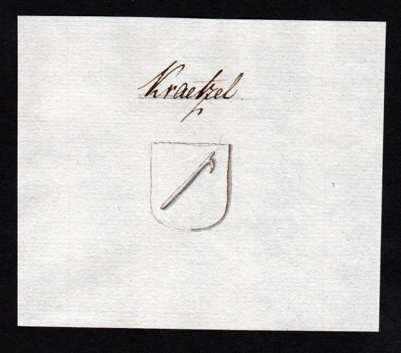 18. Jh. Krätzl Adel Handschrift Manuskript Wappen manuscript coat of arms 0