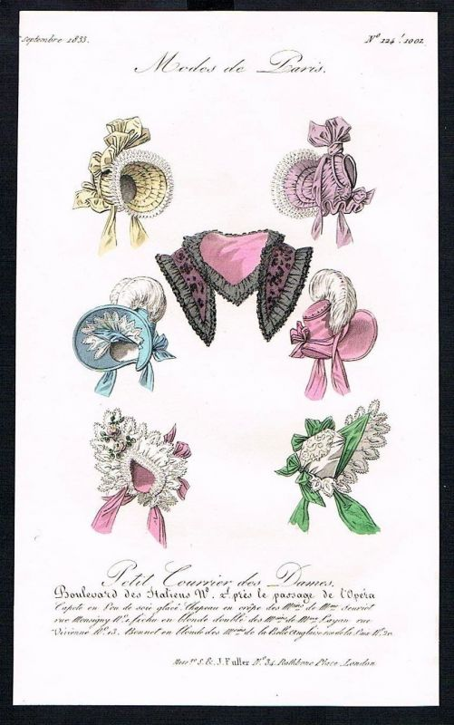 1833  Biedermeier Mode Kupferstich victorian fashion antique print Paris e 61725 0