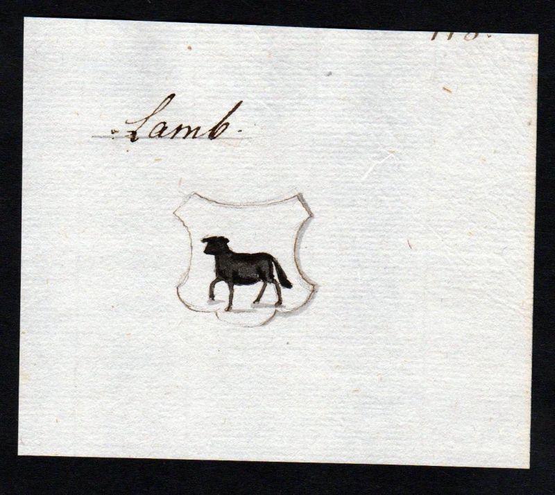 18. Jh. Lamb Handschrift Manuskript Wappen manuscript coat of arms 0