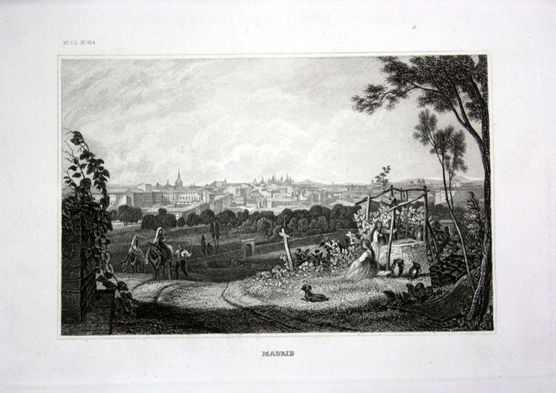 Ca. 1840 Madrid Spanien Spain Espana Ansicht view Stahlstich engraving