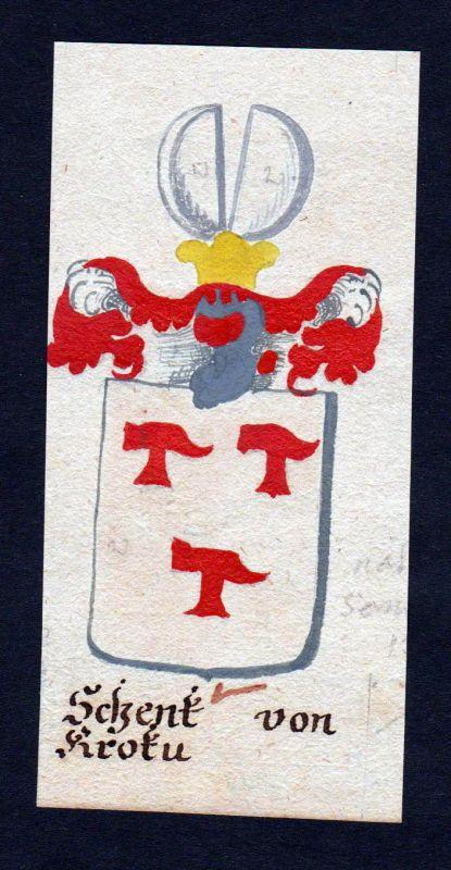 18. Jh. Schenk von Krotu Böhmen Manuskript Wappen Adel coat of arms heraldry 0