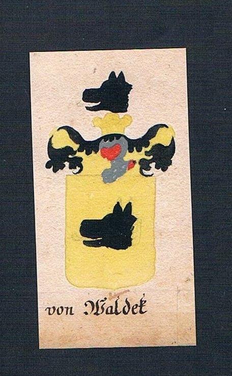 18. Jh. von Waldeck Waldek Böhmen Manuskript Wappen Adel coat of arms Heraldik 0